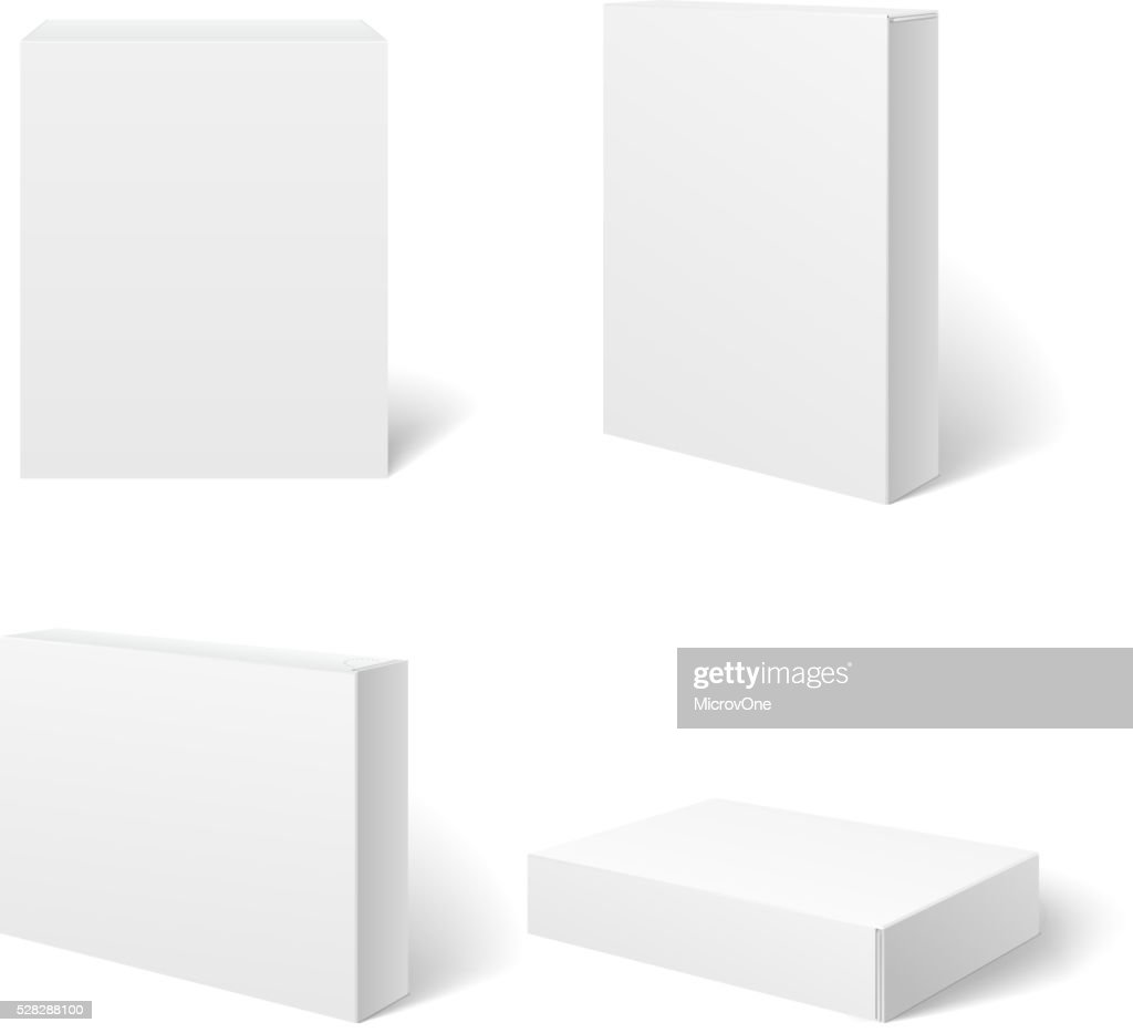 White blank cardboard package box in different positions. Vector template
