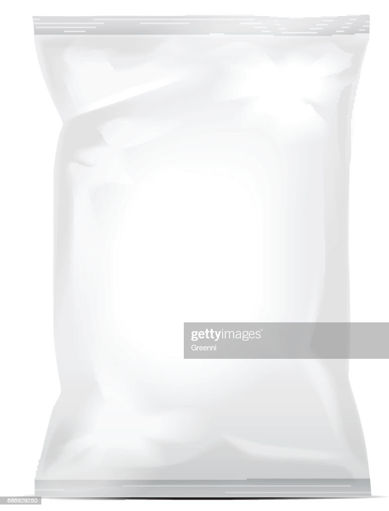 White blank foil bag packaging for food, snack, coffee, cocoa, sweets, crackers, nuts, chips. Realistic plastic pack mock up