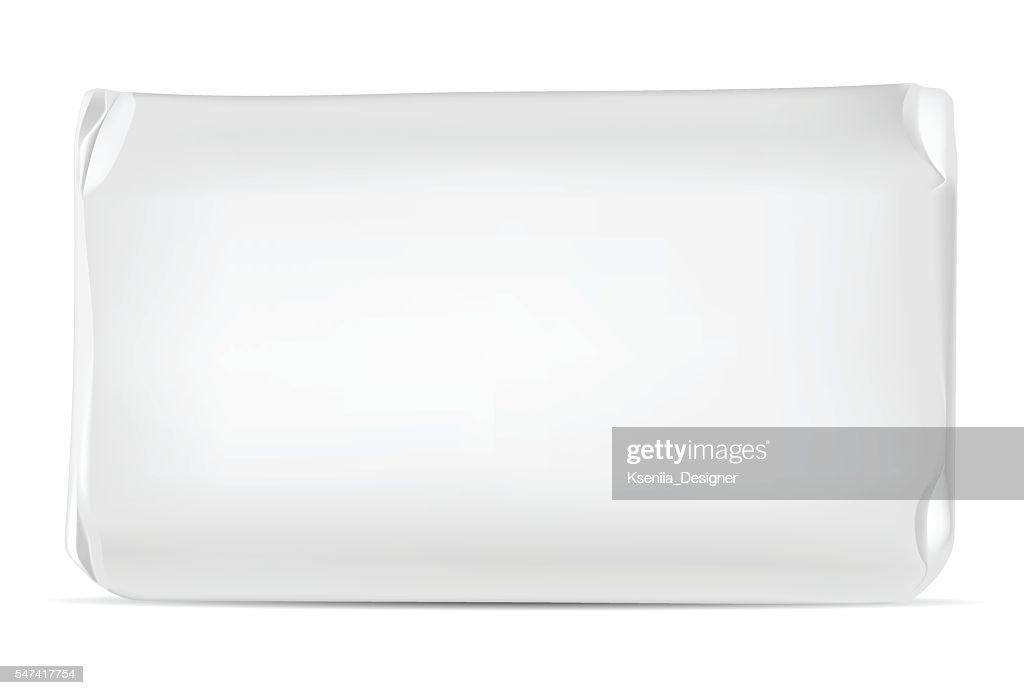 White blank foil or paper packaging isolated on white background