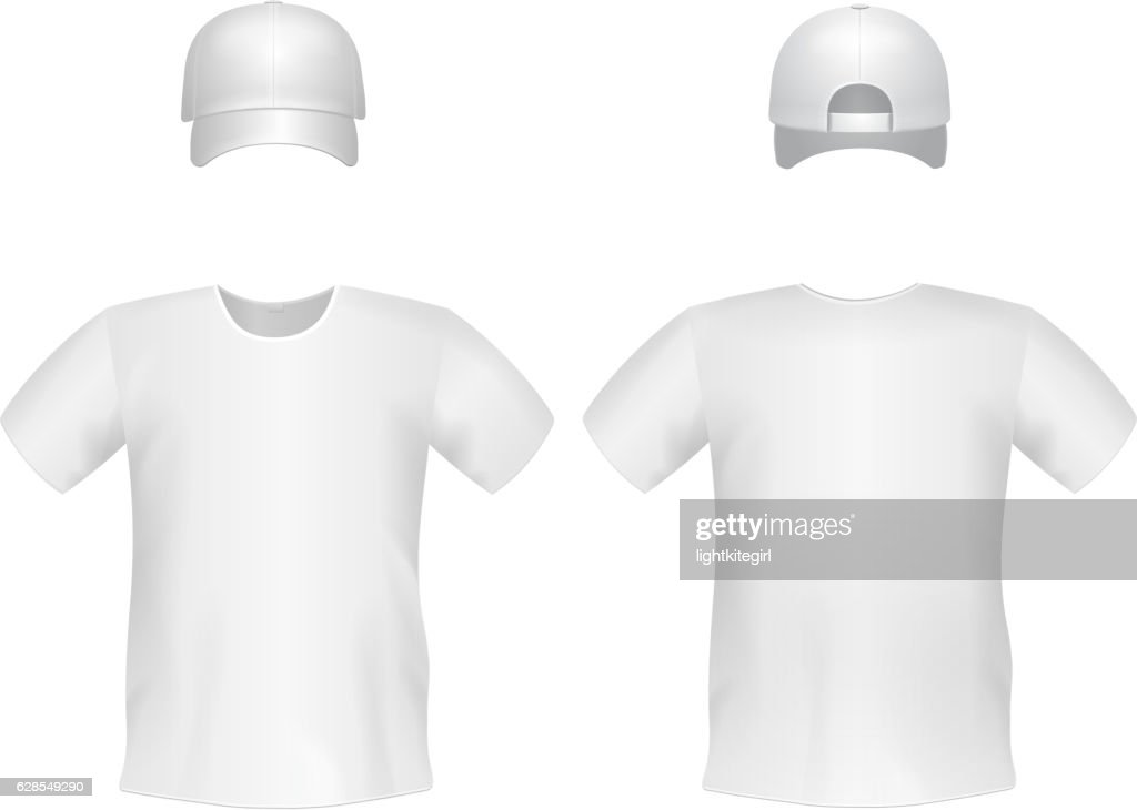 White blank men's t-shirt template with a cap