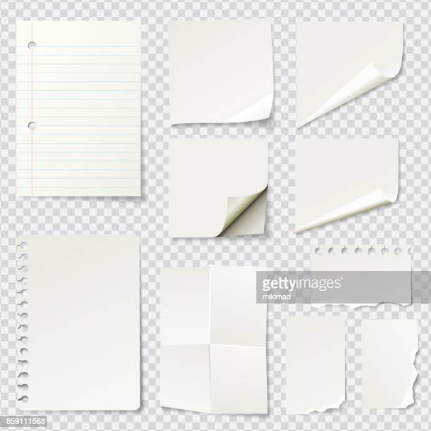 white blank paper notes - paperwork stock illustrations