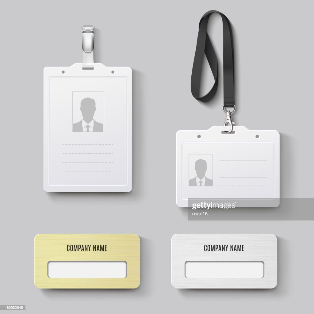White blank plastic with clasp lanyards identification badge