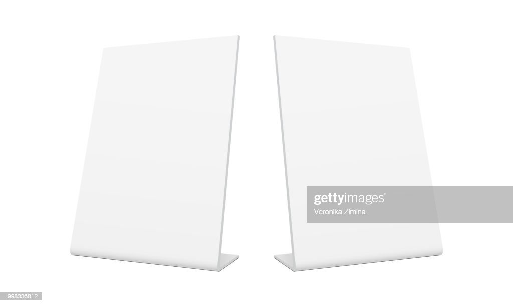 White blank pos stand banners - half side view
