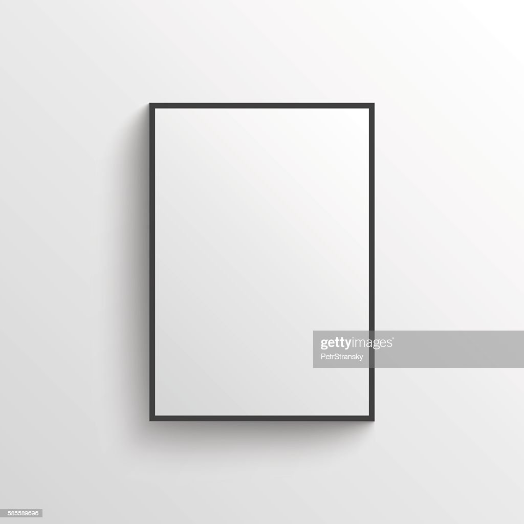 White blank poster with frame mock-up on grey wall