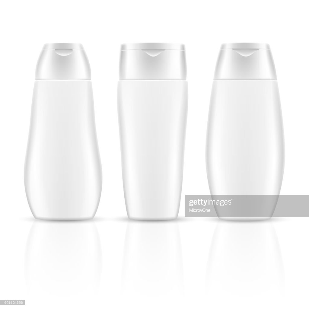 White blank shampoo bottles cosmetic container packages vector mockups