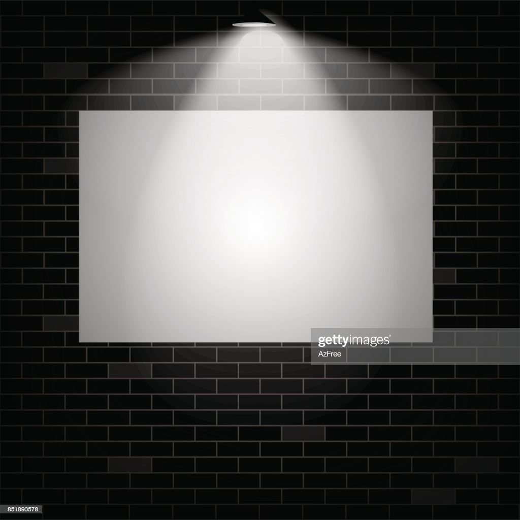 White board on a dark brick wall with illuminated lamp with soft light. Vector illustration.