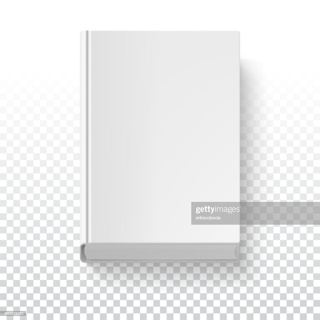White book template on transparent background with accurate shadow, top view. Grayscale mock-up for your presentation or design, 3D illustration
