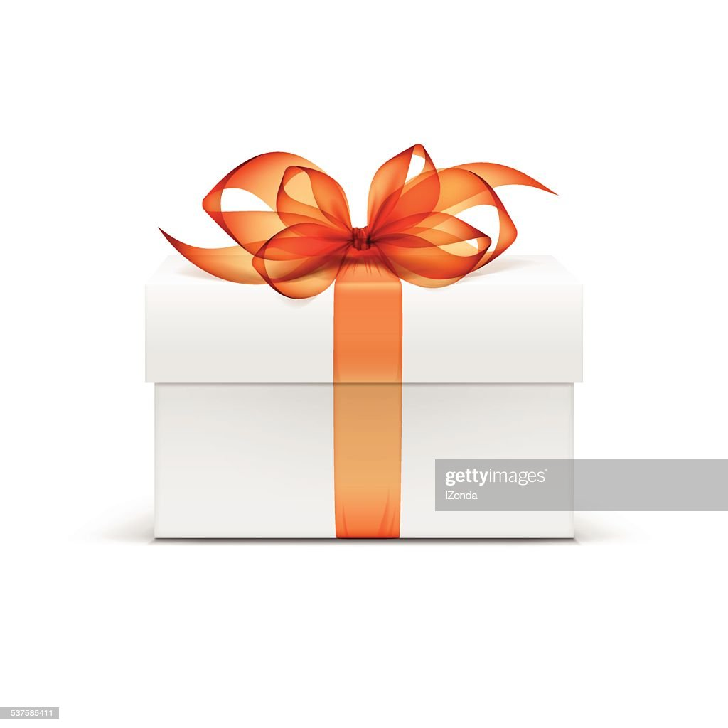 White Box with Orange Ribbon and Bow Isolated on Background
