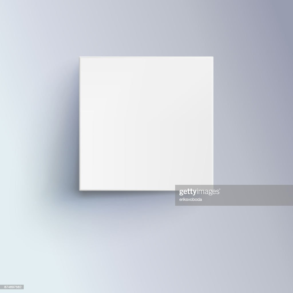 White box with shadow for logo, text or design. 3D illustration isolated, top view. Icon of cube close-up