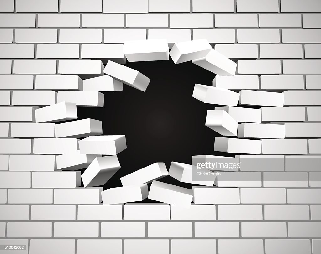 White Breaking Wall
