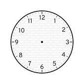 White Brick Concept, Printable Wall Clock Face Template