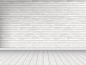 white brick wall and wooden floor background