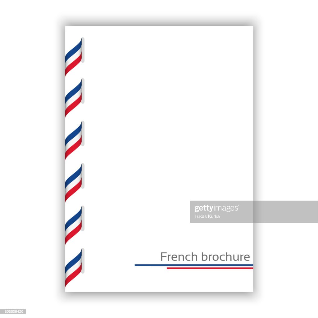 White brochure with ribbon in French tricolor, vector illustration