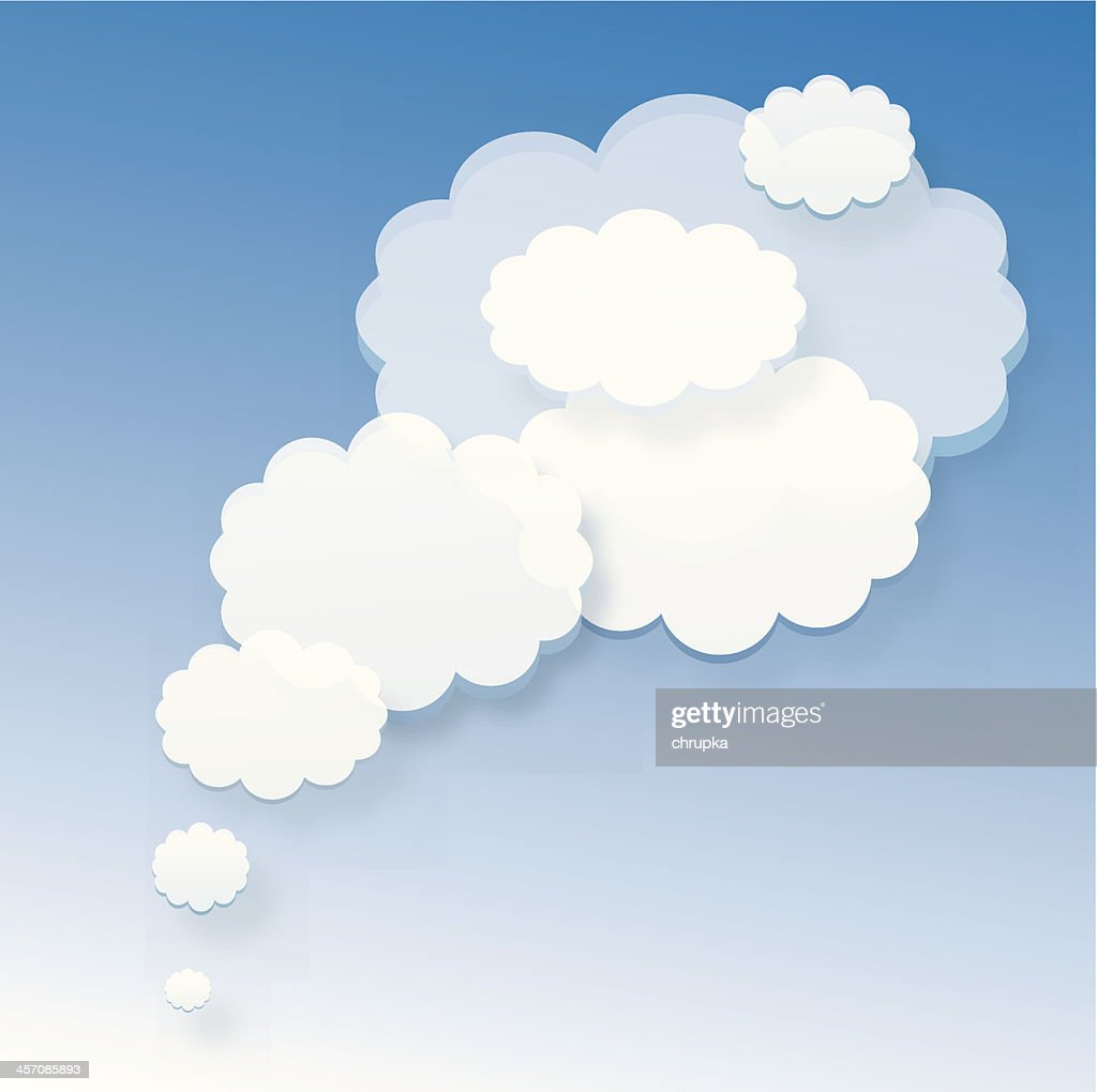 white bubbles or clouds on blue background