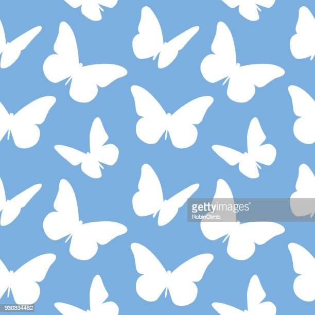 ilustrações, clipart, desenhos animados e ícones de borboletas branco padrão sem emenda - borboleta
