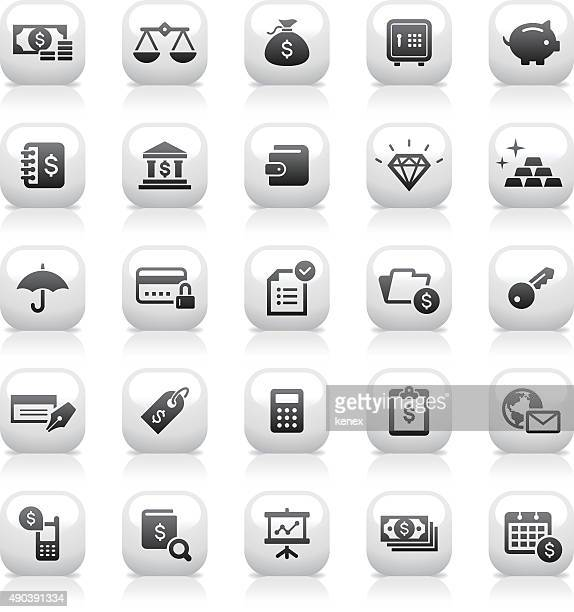 white button icons set | banking & finance - accounting ledger stock illustrations, clip art, cartoons, & icons