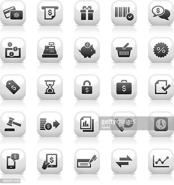 White Button Icons Set | Banking & Finance