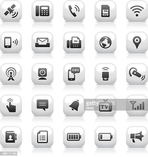 White Button Icons Set   Communication