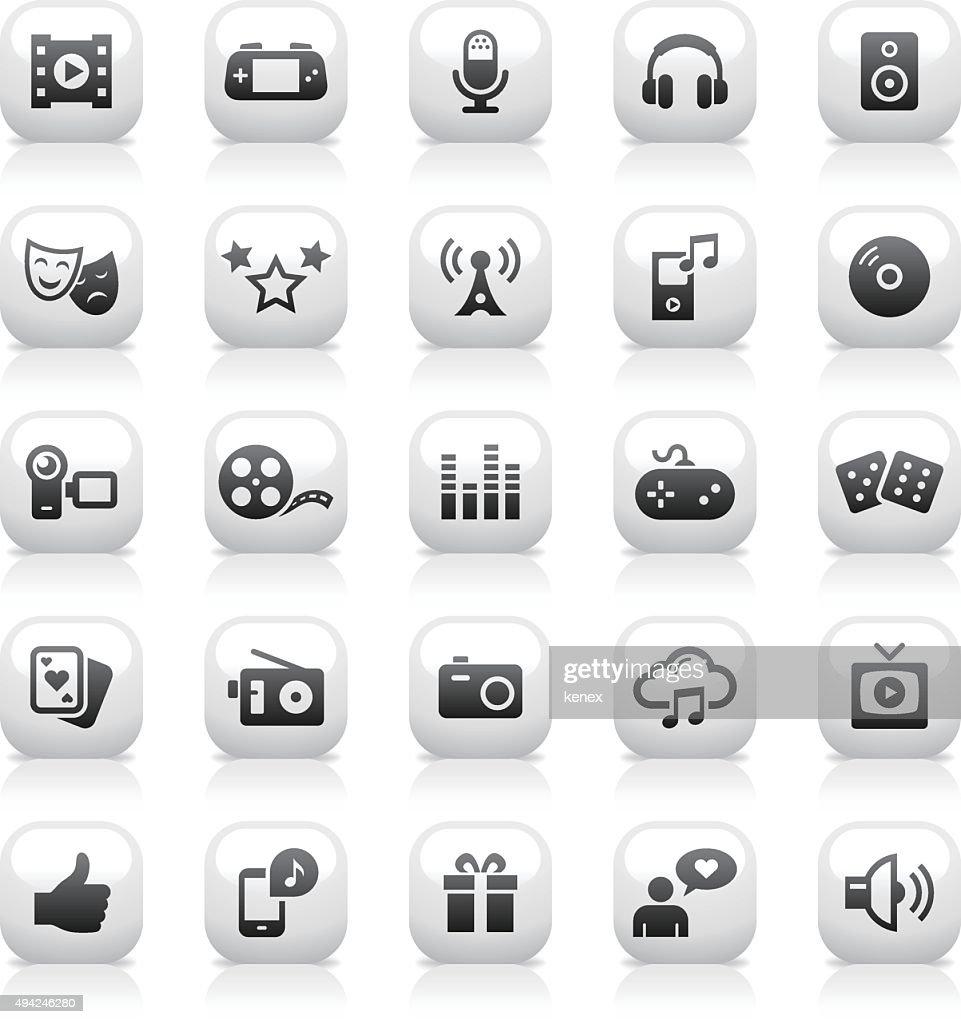 White Button Icons Set   Entertainment : stock illustration
