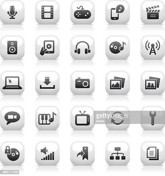 White Button Icons Set | Media
