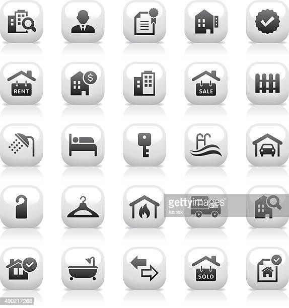 White Button Icons Set | Real Estate