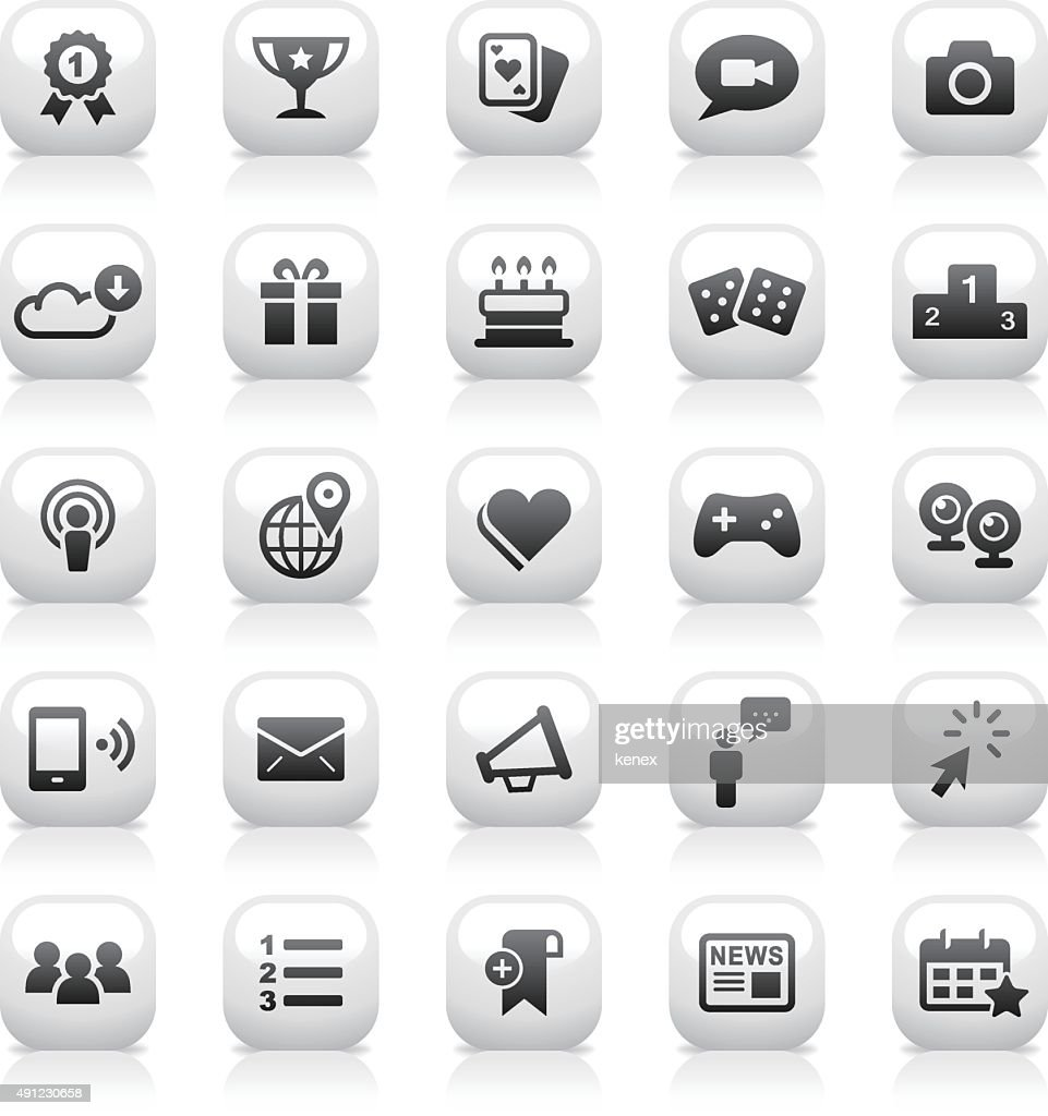 White Button Icons Set | Social Media