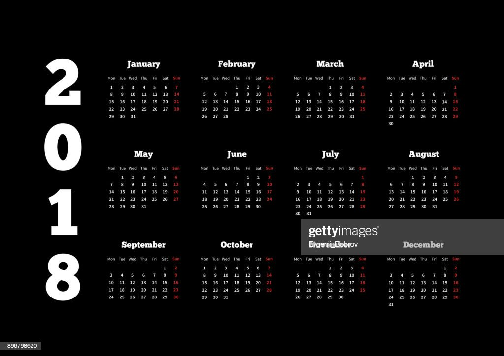 White calendar on 2018 year with week starting from monday on black background, A4 horizontal sheet