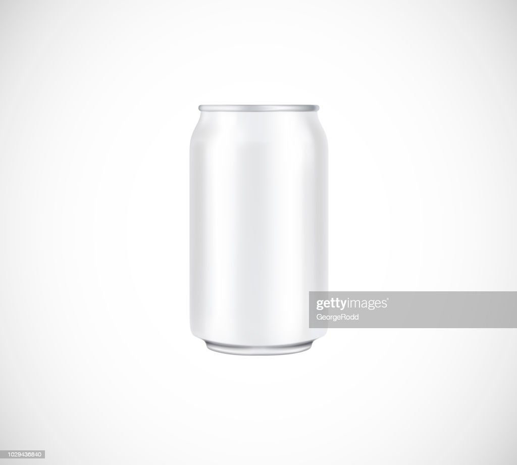 White can front view. Can vector visual 330 ml. For beer, lager, alcohol, soft drinks, soda advertising.