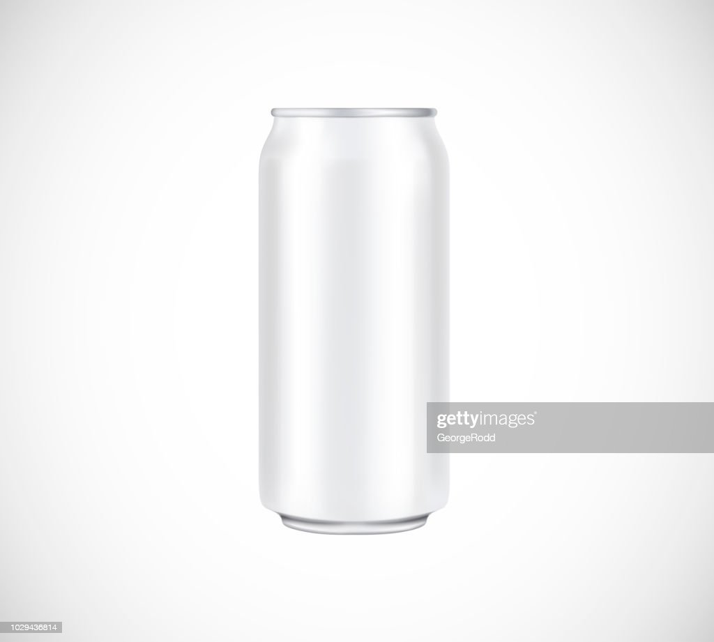 White can front view. Can vector visual 500 ml. For beer, lager, alcohol, soft drinks, soda advertising.