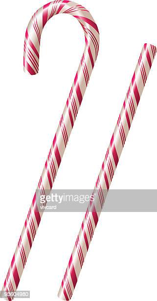 white candy canes with pink stripes over a white background - candy cane stock illustrations