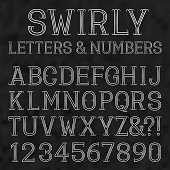 White capital letters and numbers of lines