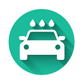 White Car wash icon isolated with long shadow. Carwash service and water cloud icon. Green circle button. Vector Illustration