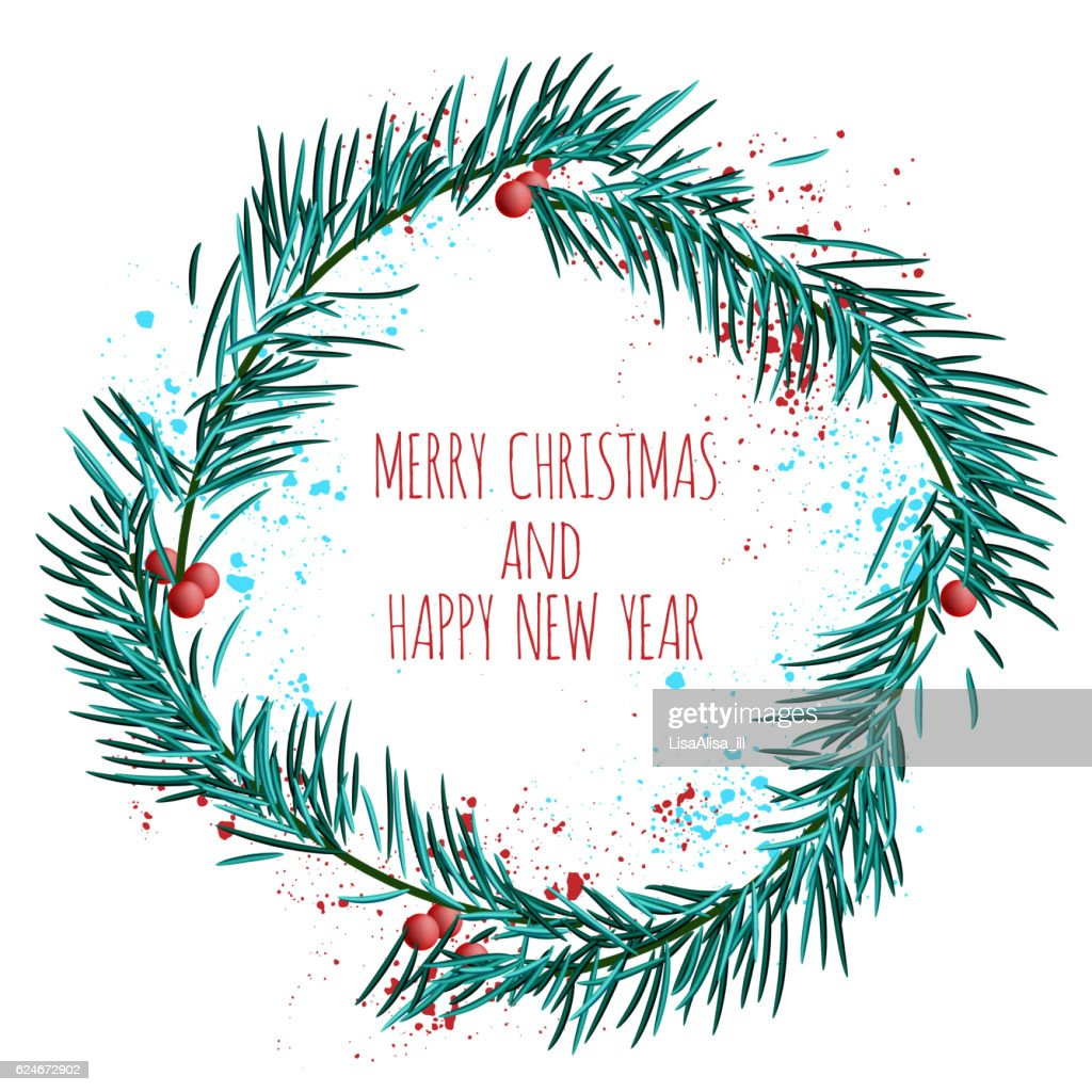 White Card With Blue Christmas Wreath And Berries Vector ...