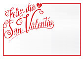 White card with red border with the message FELIZ DIA DE SAN VALENTIN - Happy Valentine's Day in Spanish language