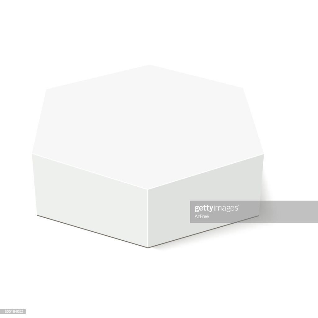 白段ボール六角ボックス包装ベクター デザインの準備ができて
