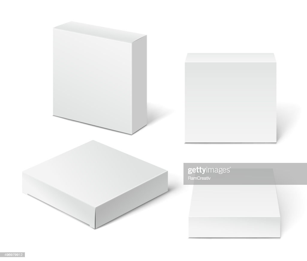 White Cardboard Package Box. Illustration Isolated On White Back