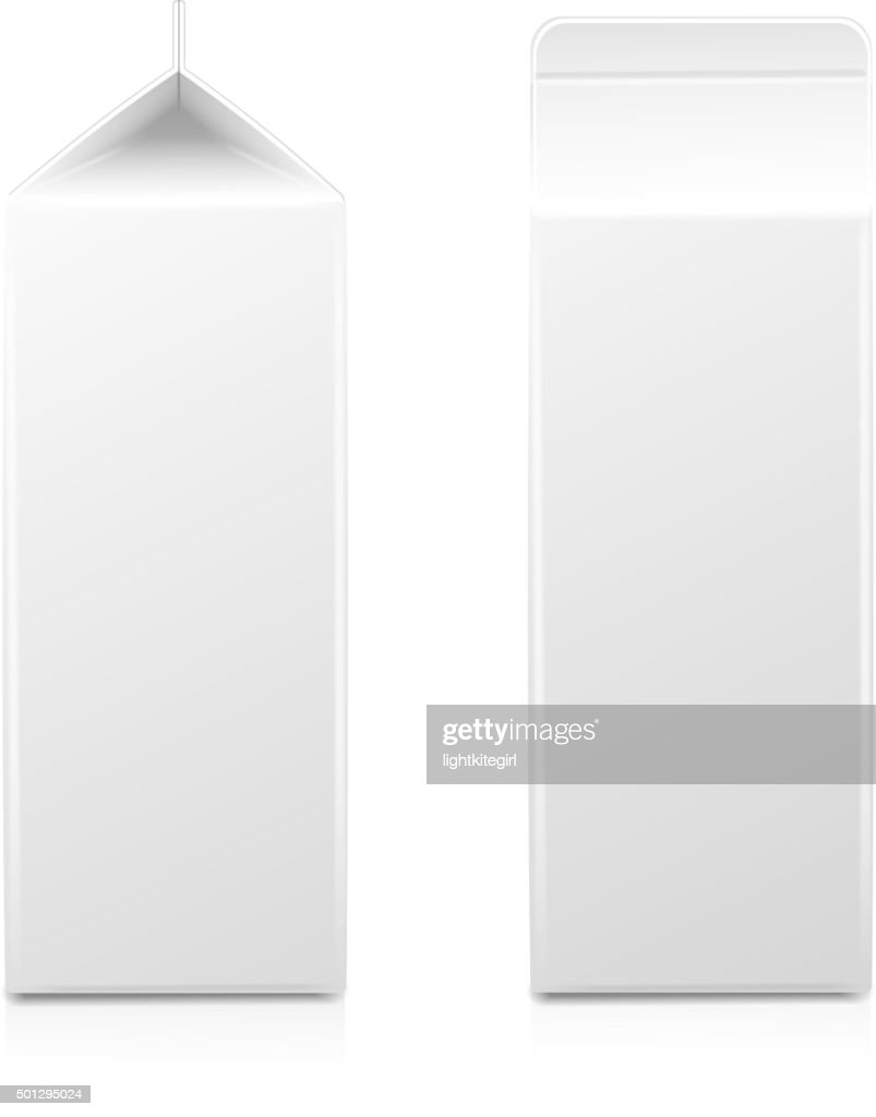 White cardboard package for diary products, juice or milk. Packaging
