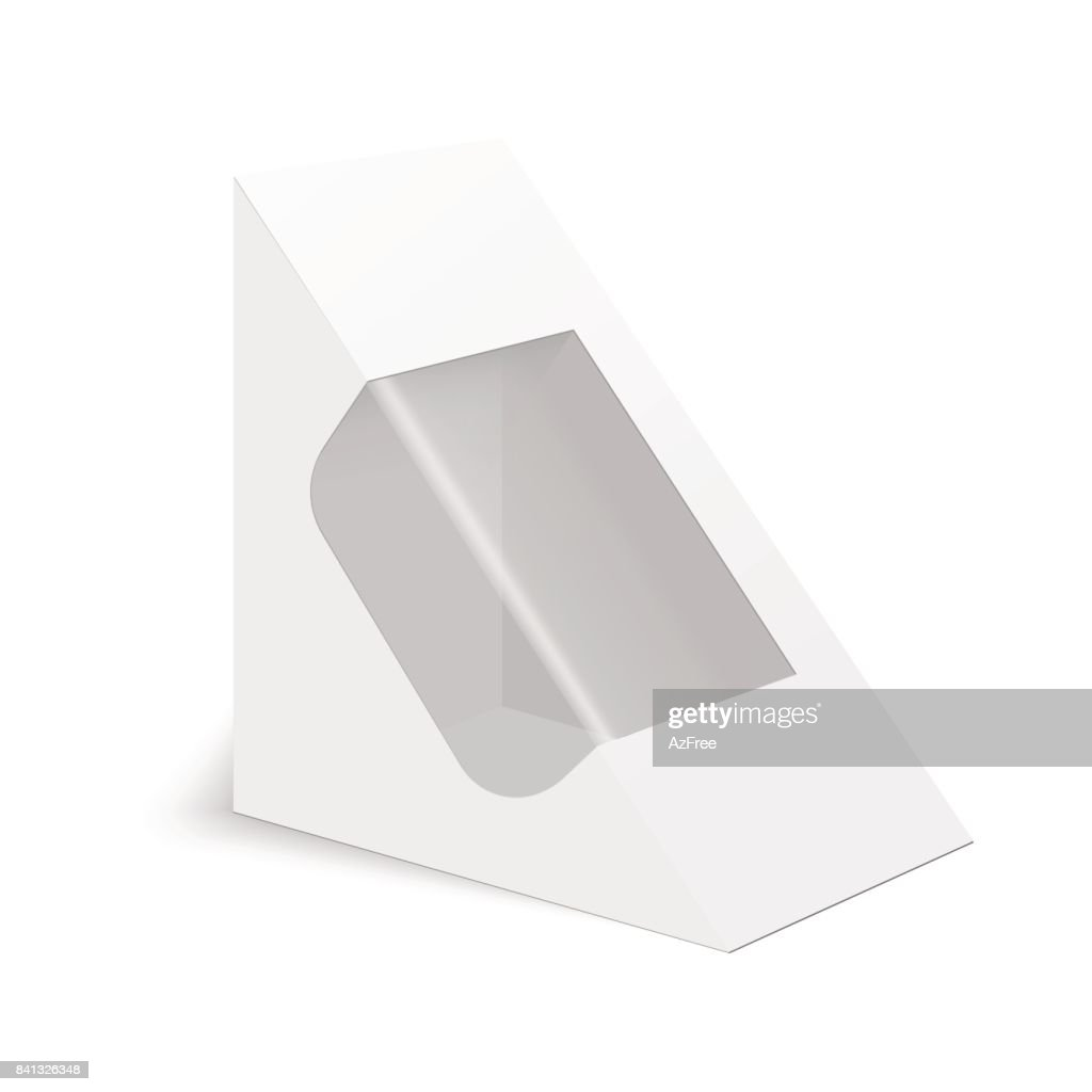 White cardboard triangle box packaging for sandwich, food, gift or other products. Vector mock up template ready for your design.