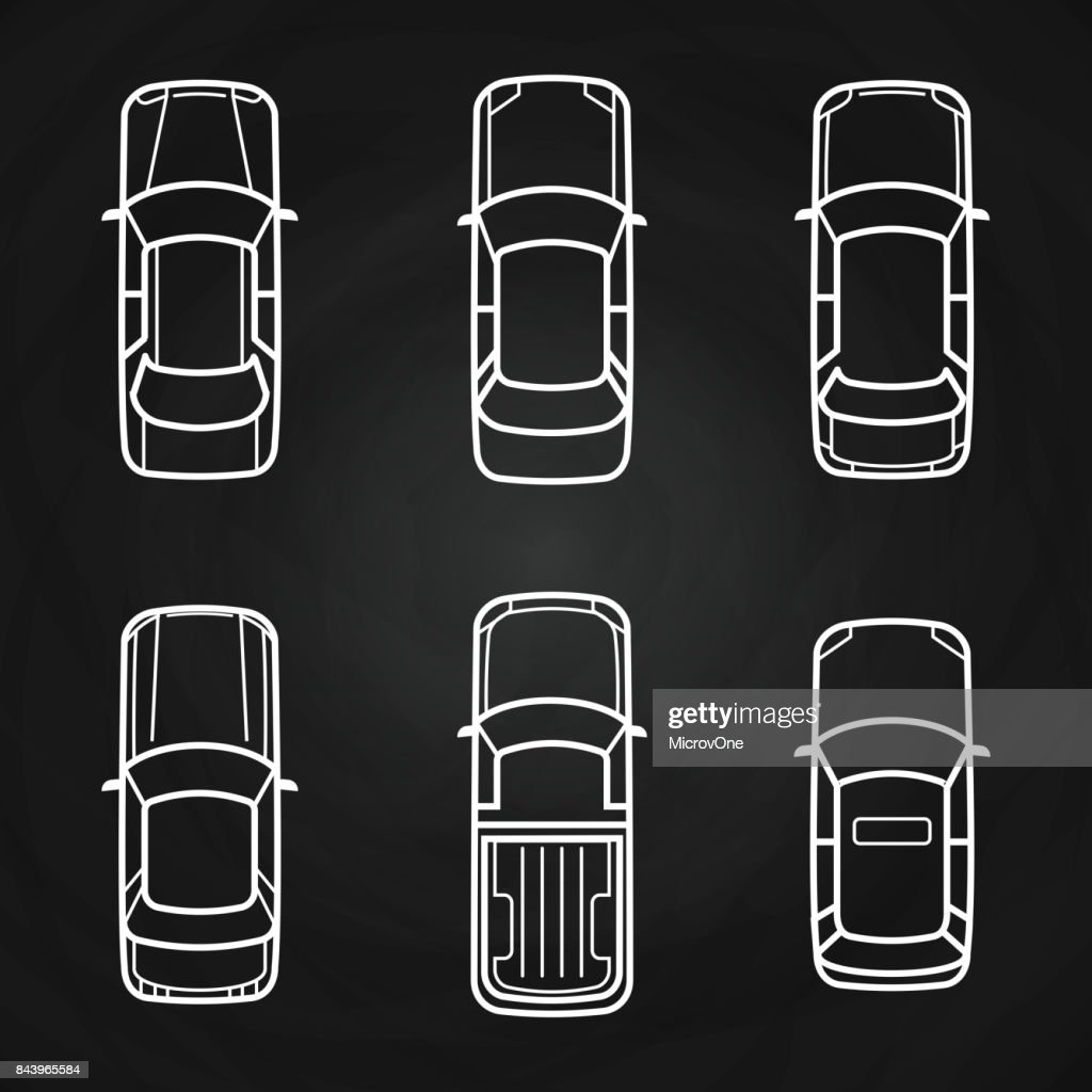 White cars template set - cars top view icons