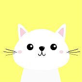 White cat kitten Funny head baby face. Moustaches. Cute kawaii cartoon character. Pink cheeks. Greeting card template. Yellow background. Flat design.