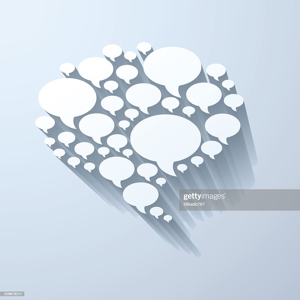 White chat bubble symbol on light grey background
