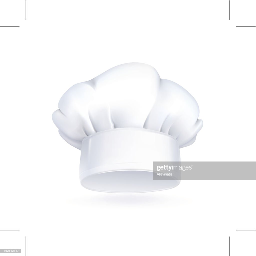 White chefs hat icon on white background