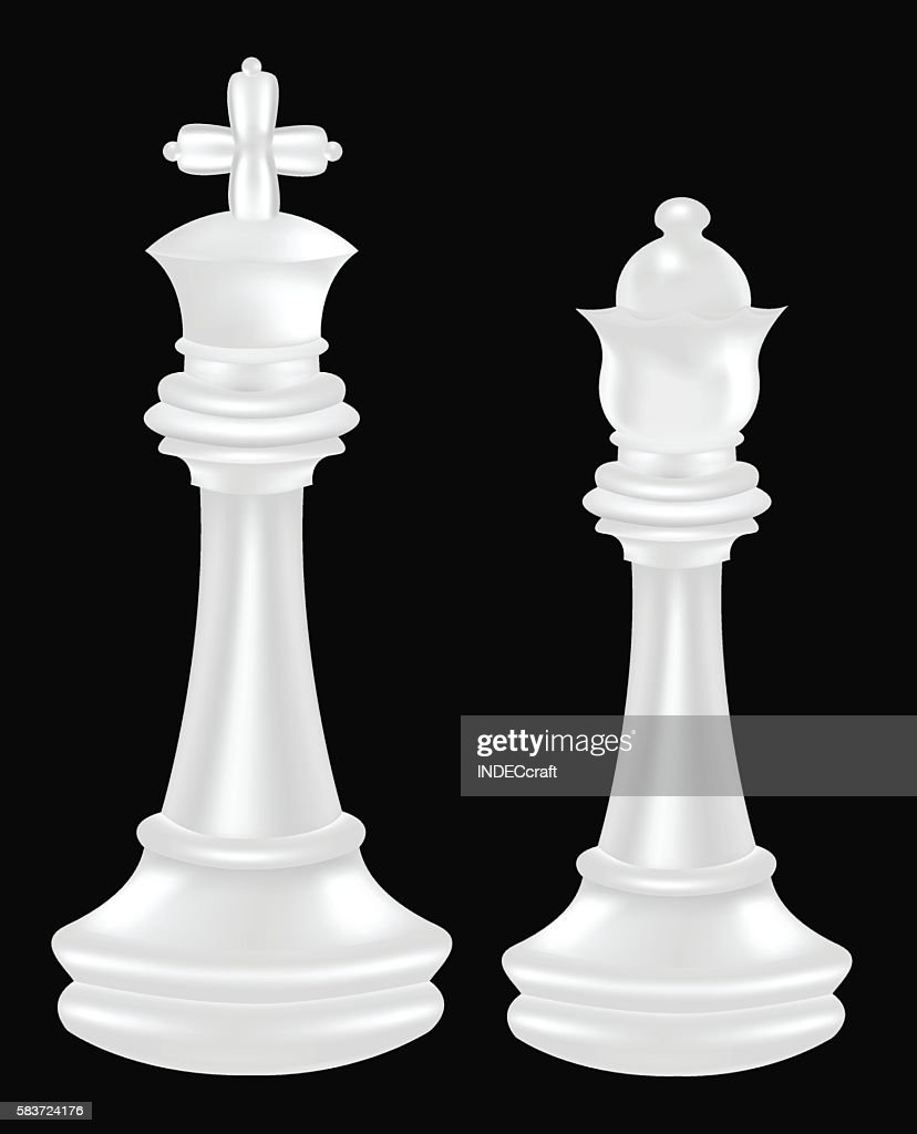 White Chess Piece King And Queen Vector Art Getty Images