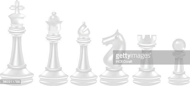 Blanco ajedrez piezas