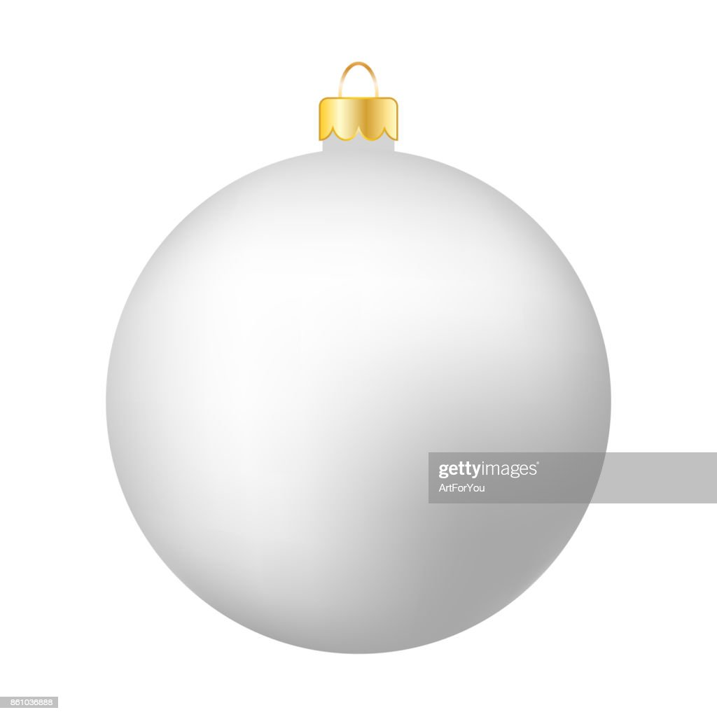 White Christmas Ball Isolated on White - Merry Christmas!