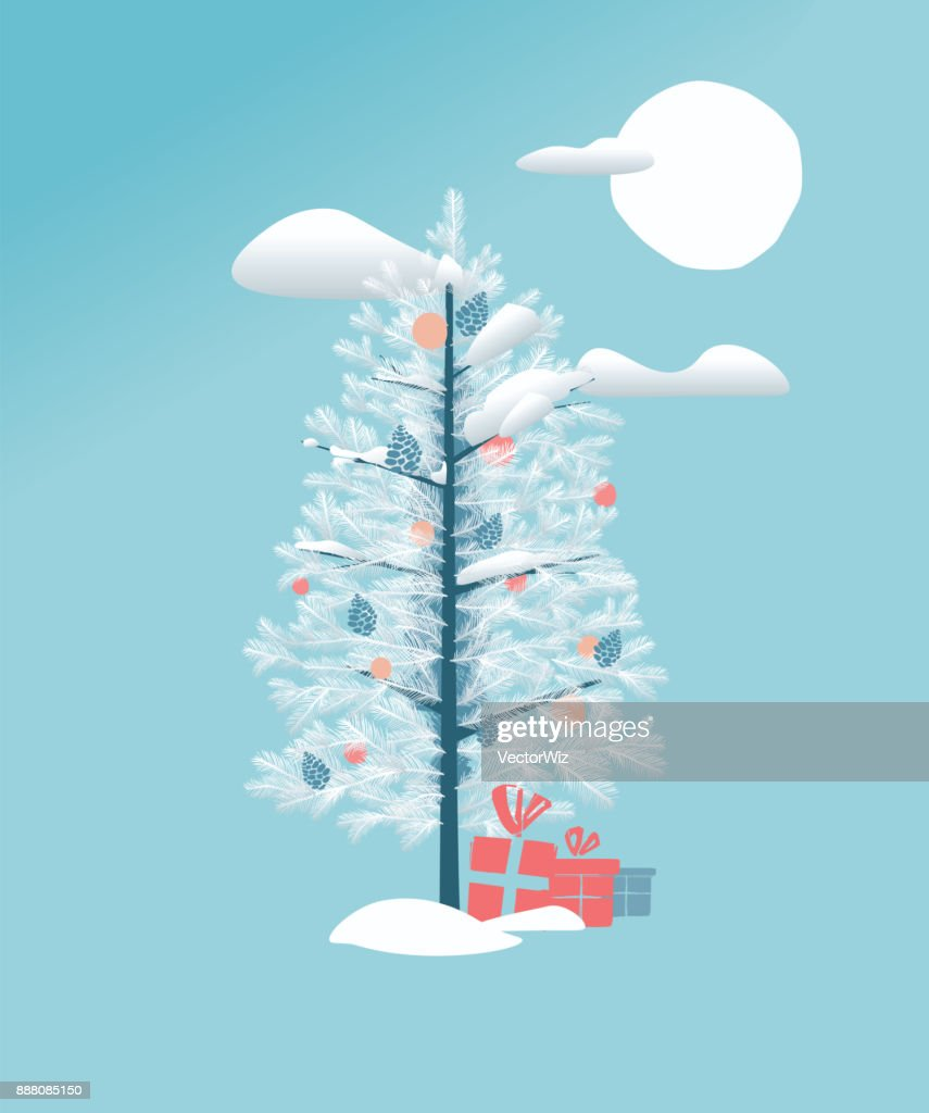 White Christmas Pine Tree with Decoration and Presents