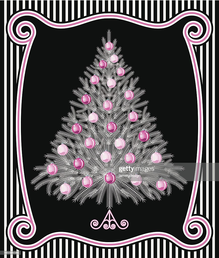 White Christmas Tree On Black High Res Vector Graphic Getty Images