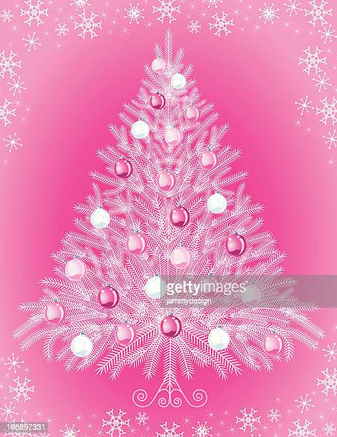 Pink Christmas Trees.World S Best Pink Christmas Trees Stock Illustrations
