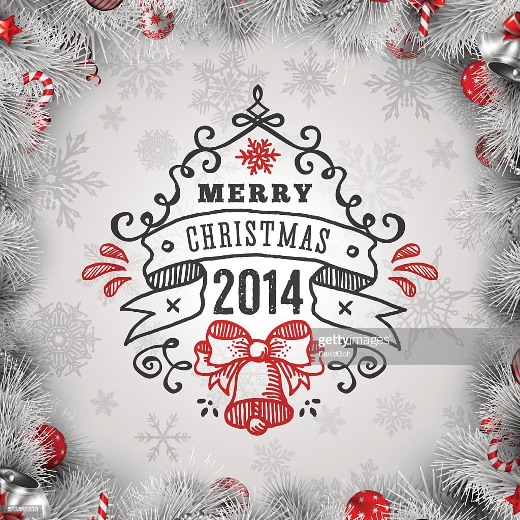 White Christmas Wishes With Wreath Border Vector Art | Getty Images