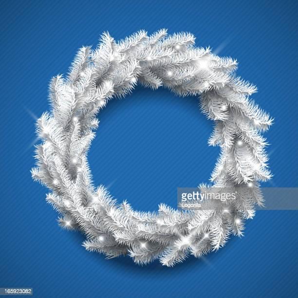 white christmas wreath - laurel wreath stock illustrations